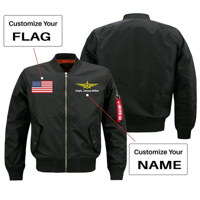 Custom Flag & Name with Badge 3 Designed Pilot Jackets