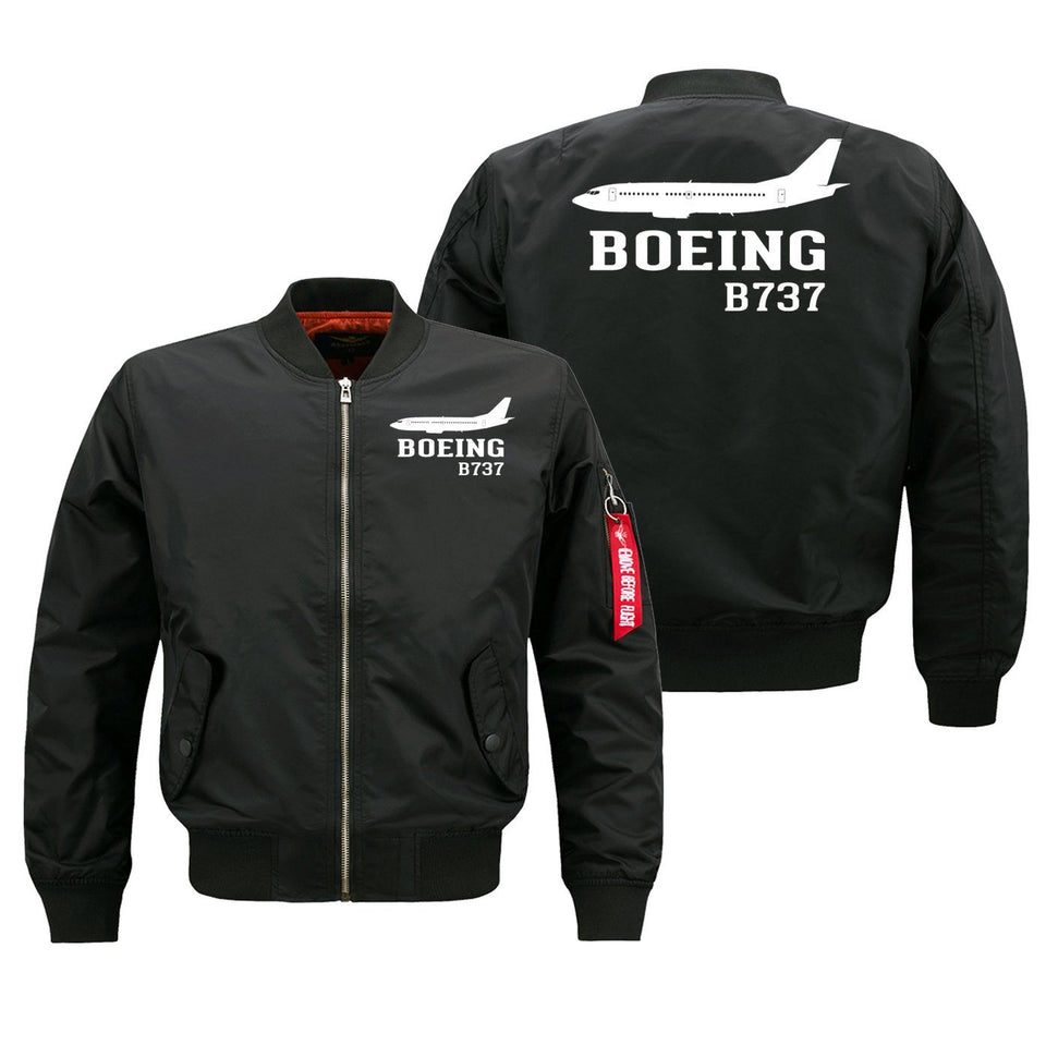 Boeing 737 Printed Pilot Jackets (Customizable) Pilot Eyes Store Black (Thin) M (US XS)