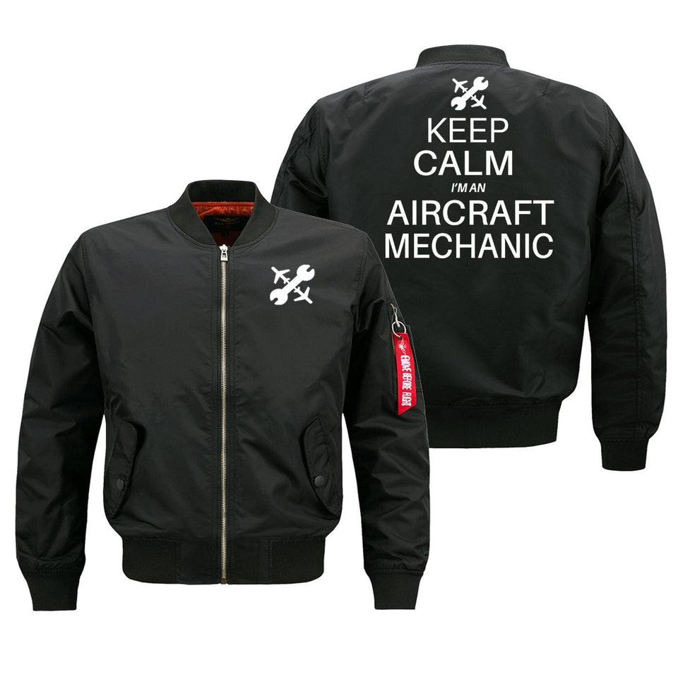 Keep Calm I'm an Aircraft Mechanic Designed Bomber Jackets (Customizable) Pilot Eyes Store Black (Thin) M (US XS)