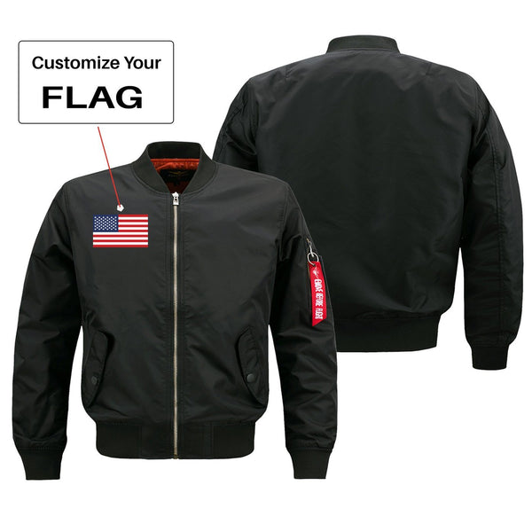 Custom Flag Designed Pilot Jackets (Customizable) Pilot Eyes Store Black (Thin) S (US XXS)