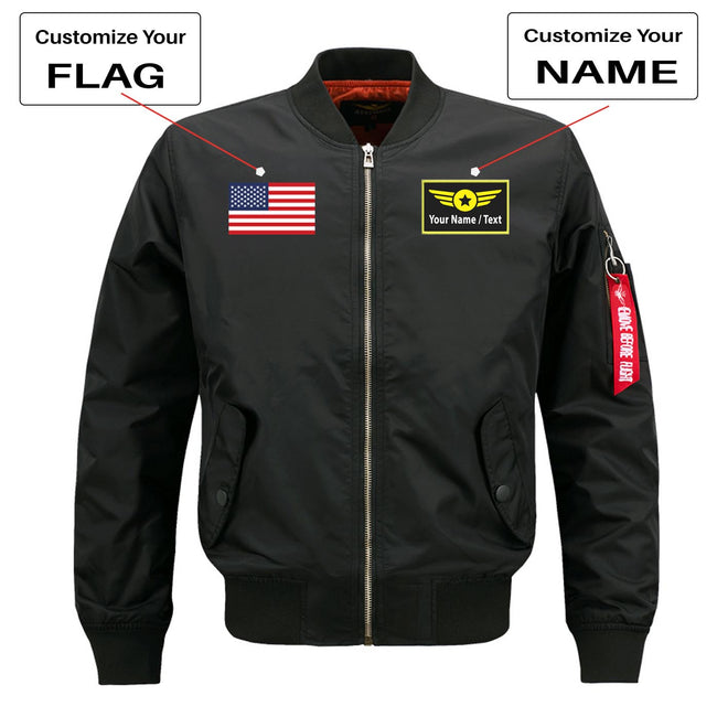 "Custom Flag & Name with ""Special Badge"" Designed Pilot Jackets"