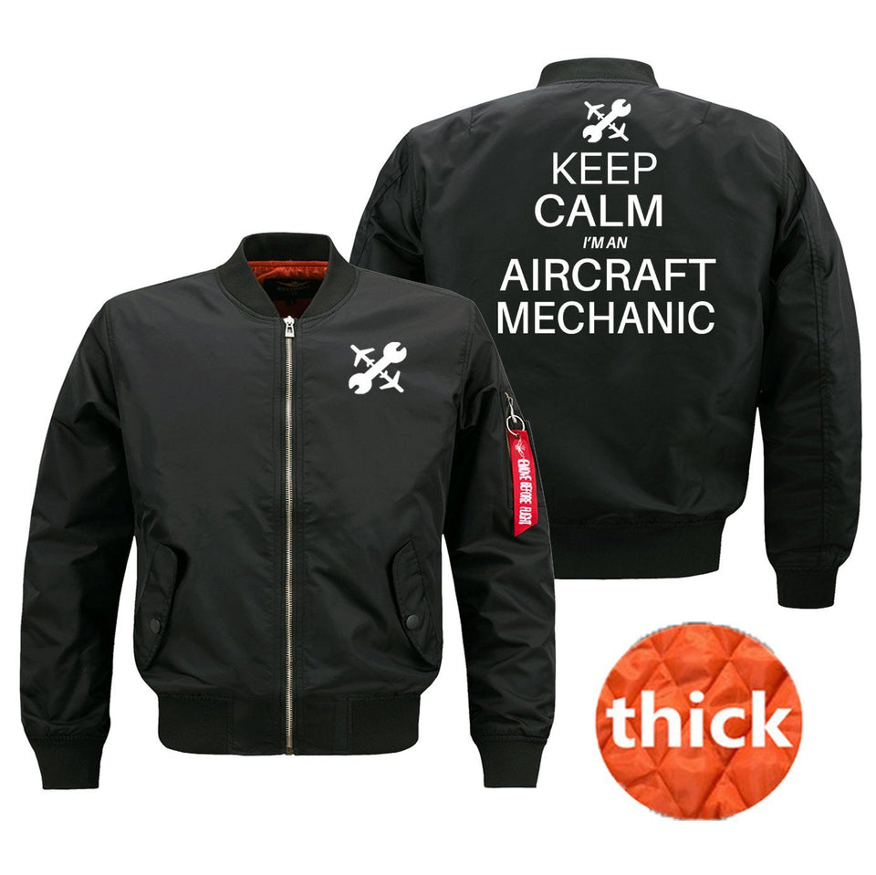 Keep Calm I'm an Aircraft Mechanic Designed Bomber Jackets (Customizable) Pilot Eyes Store Black (Thick) M (US XS)