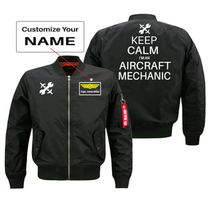 Keep Calm I'm an Aircraft Mechanic Designed Bomber Jackets (Customizable) Pilot Eyes Store Black (Thin) + Name M (US XS)