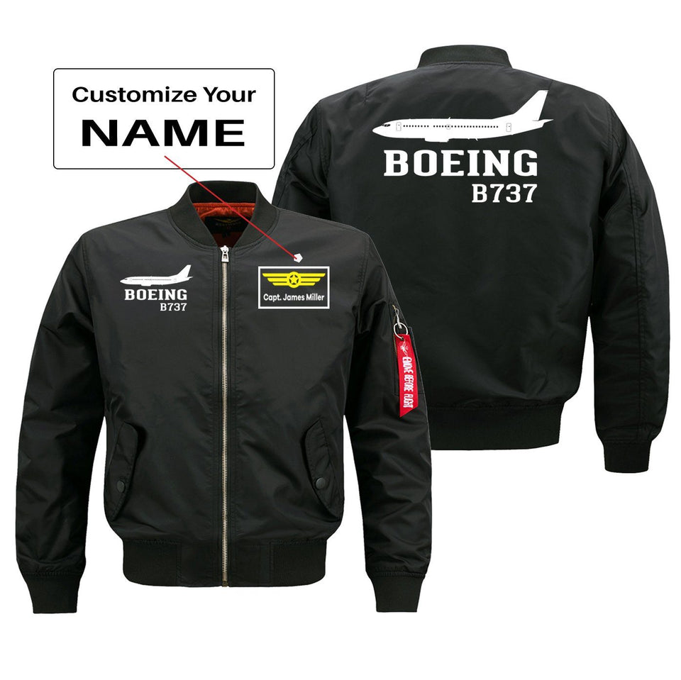 Boeing 737 Printed Pilot Jackets (Customizable) Pilot Eyes Store Black (Thin) + Name M (US XS)