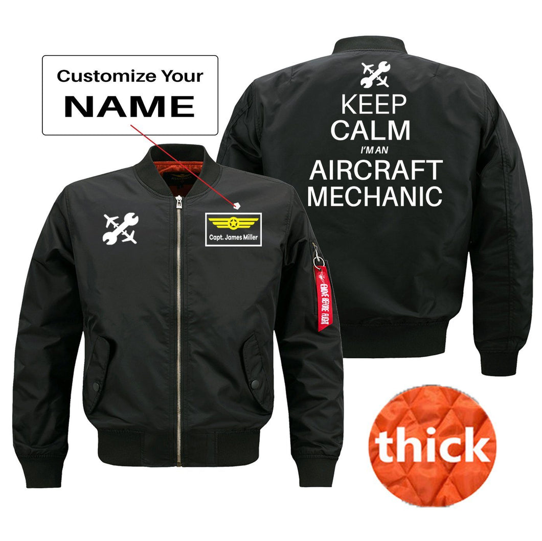 Keep Calm I'm an Aircraft Mechanic Designed Bomber Jackets (Customizable) Pilot Eyes Store Black (Thick) + Name M (US XS)