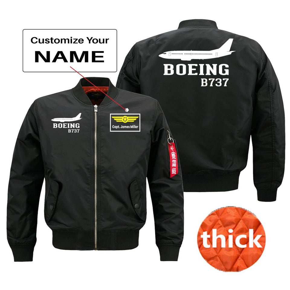 Boeing 737 Printed Pilot Jackets (Customizable) Pilot Eyes Store Black (Thick) M (US XS)