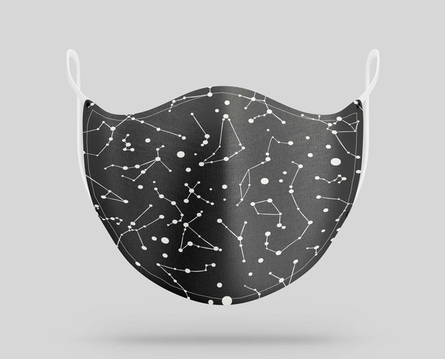 Black Constellation Pattern Designed Face Masks