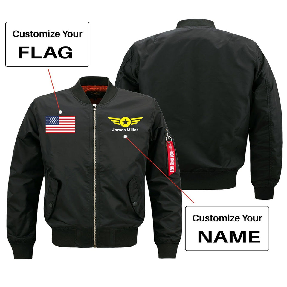 Custom Flag & Name with Badge 4 Designed Pilot Jackets Aviation Shop Black (Thin) + Name S (US XXS)