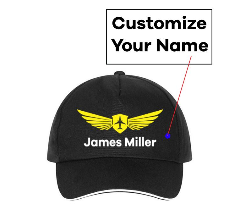 Customizable Name & Badge Designed Hats Pilot Eyes Store Black(Colour)