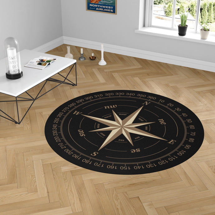 Black Vintage Style Compass Designed Carpet & Floor Mats (Round)