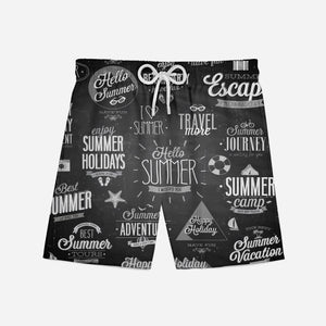 Black & White Super Travel Icons Designed Swim Trunks