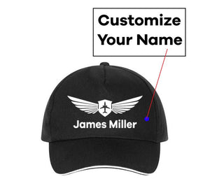 Customizable Name & Badge Designed Hats Pilot Eyes Store Yellow