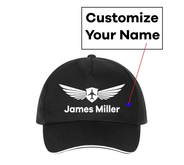 Customizable Name & Badge Designed Hats Pilot Eyes Store Black