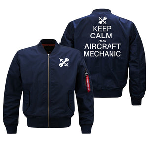Keep Calm I'm an Aircraft Mechanic Designed Bomber Jackets (Customizable) Pilot Eyes Store Blue (Thin) M (US XS)