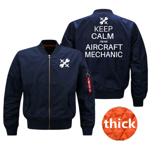 Keep Calm I'm an Aircraft Mechanic Designed Bomber Jackets (Customizable) Pilot Eyes Store Blue (Thick) M (US XS)