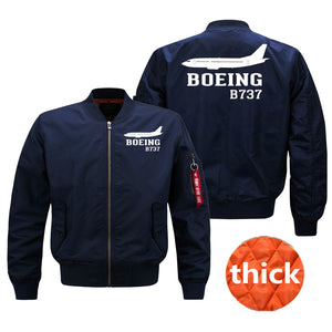 Boeing 737 Printed Pilot Jackets (Customizable) Pilot Eyes Store Blue (Thick) M (US XS)