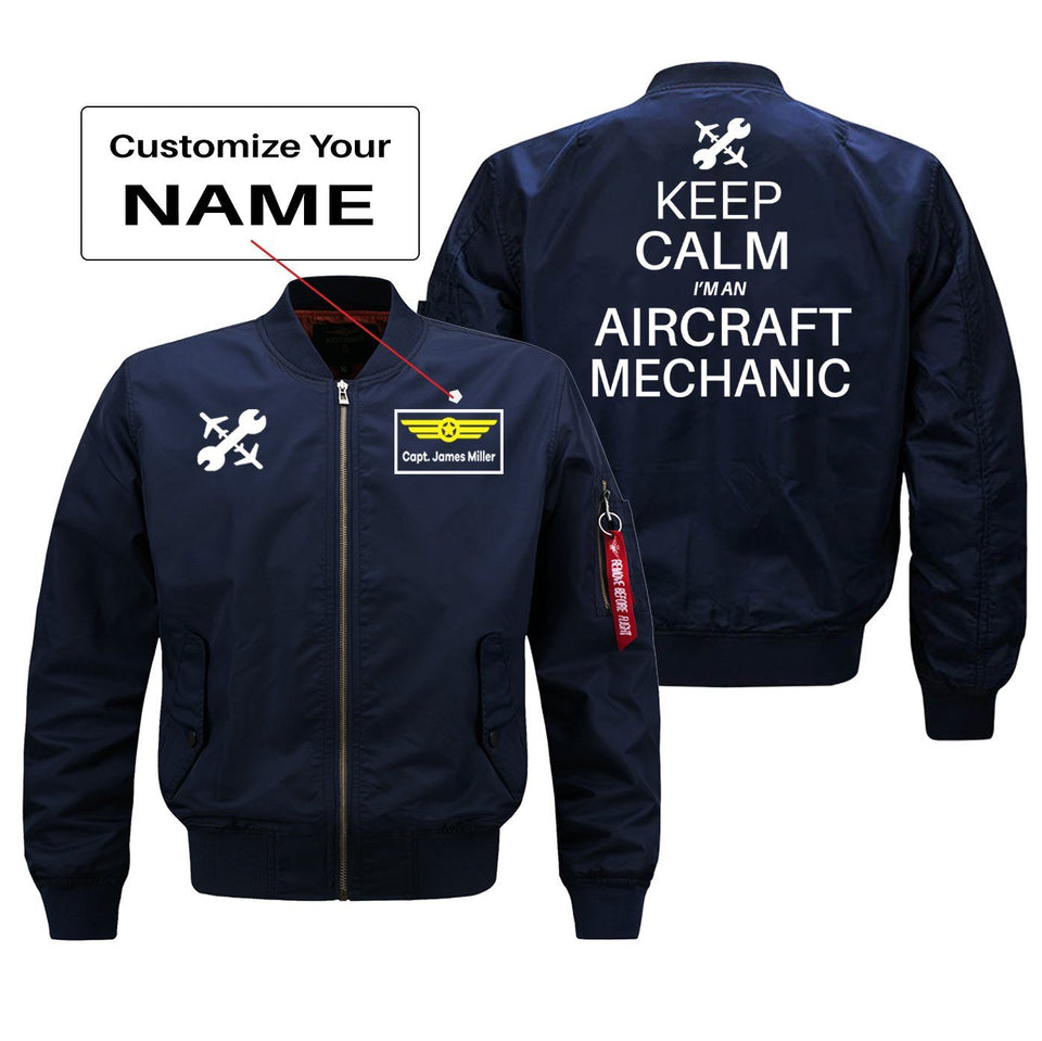 Keep Calm I'm an Aircraft Mechanic Designed Bomber Jackets (Customizable) Pilot Eyes Store Blue (Thin) + Name M (US XS)