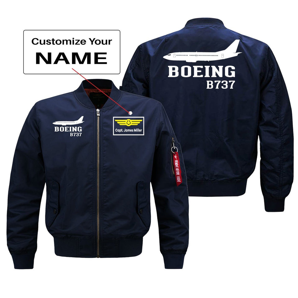 Boeing 737 Printed Pilot Jackets (Customizable) Pilot Eyes Store Blue (Thin) + Name M (US XS)