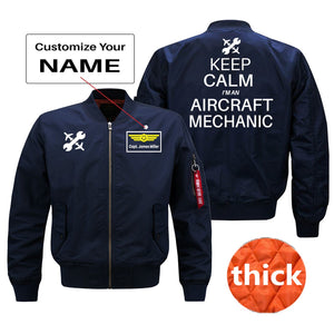 Keep Calm I'm an Aircraft Mechanic Designed Bomber Jackets (Customizable) Pilot Eyes Store Blue (Thick) + Name M (US XS)