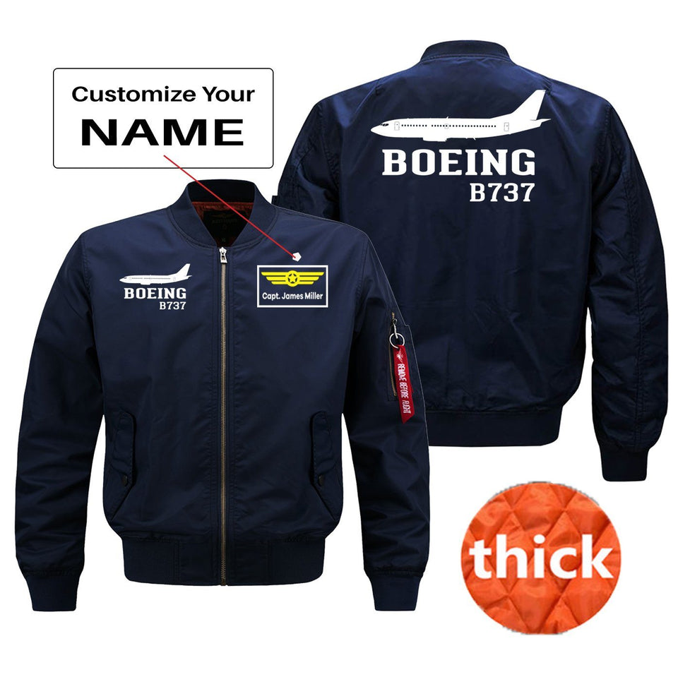 Boeing 737 Printed Pilot Jackets (Customizable) Pilot Eyes Store Blue (Thick) + Name M (US XS)