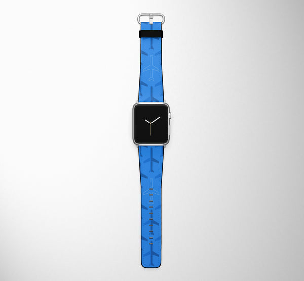 Blue Seamless Airplanes Designed Leather Apple Watch Straps