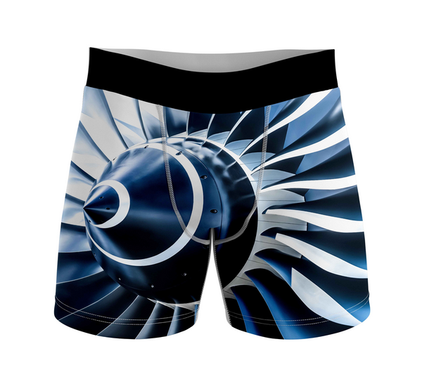 Blue Toned Super Jet Engine Blades Closeup Designed Men Boxers