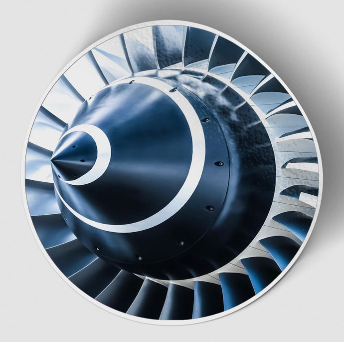 Blue Toned Super Jet Engine Blades Closeup (Circle) Designed Stickers