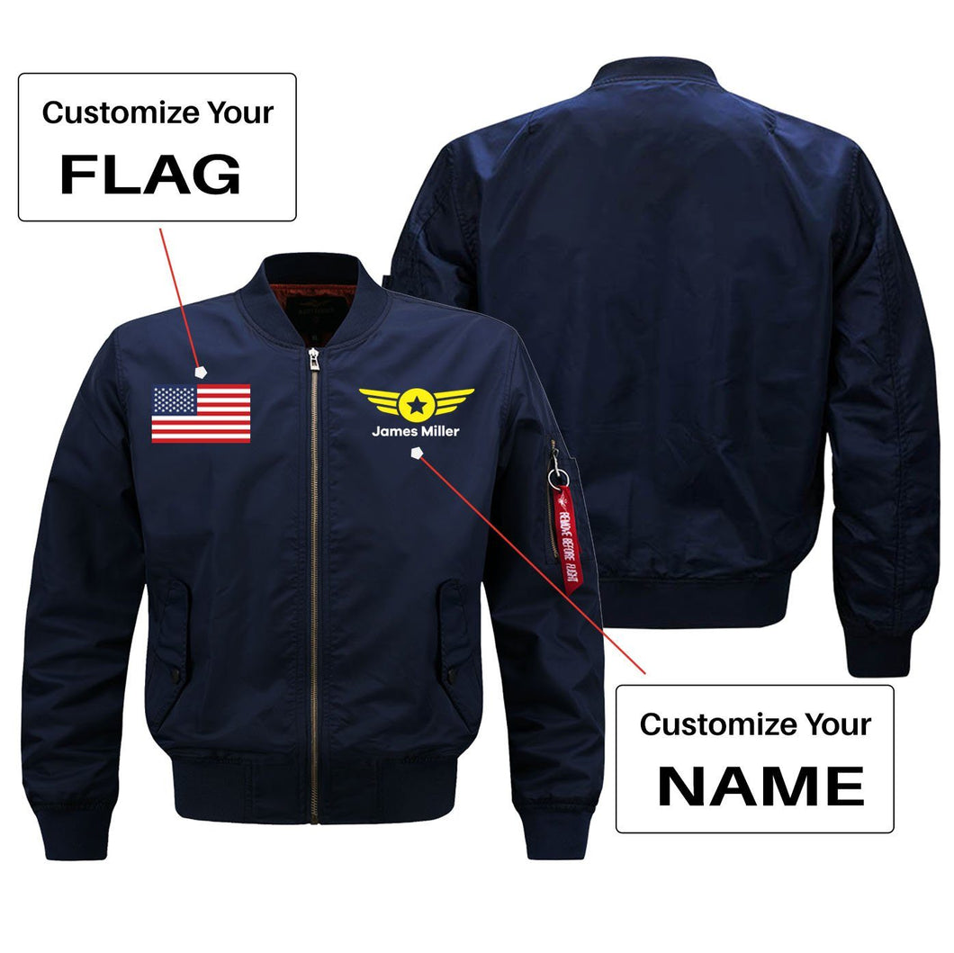Custom Flag & Name with Badge 4 Designed Pilot Jackets Aviation Shop Blue (Thin) + Name S (US XXS)