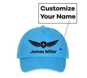 Customizable Name & Badge Designed Hats Pilot Eyes Store Blue