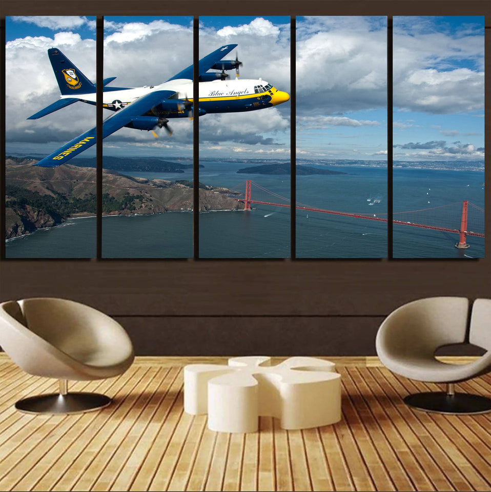 Blue Angels & Bridge Printed Canvas Prints (5 Pieces) Aviation Shop