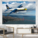 Blue Angels & Bridge Printed Canvas Posters (1 Piece) Aviation Shop