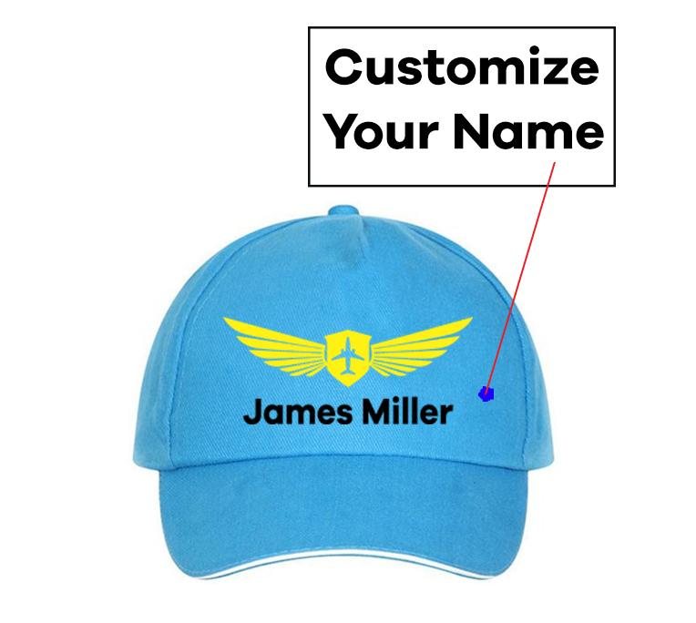 Customizable Name & Badge Designed Hats Pilot Eyes Store Blue(Colour)