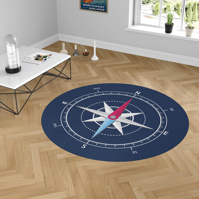 Blue Stylish Compass Designed Carpet & Floor Mats (Round)