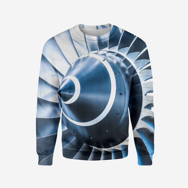 Blue Toned Super Jet Engine Blades Closeup Printed 3D Sweatshirts