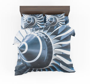 Blue Toned Super Jet Engine Blades Closeup Designed Bedding Sets