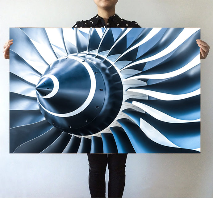 Blue Toned Super Jet Engine Blades Closeup Printed Posters Aviation Shop