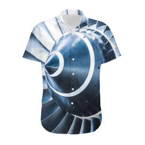 Blue Toned Super Jet Engine Blades Closeup Designed 3D Shirts
