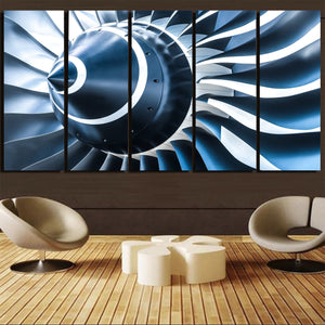 Blue Toned Super Jet Engine Blades Closeup Printed Canvas Prints (5 Pieces) Aviation Shop