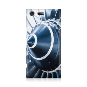 Blue Toned Super Jet Engine Blades Closeup Designed Sony Cases