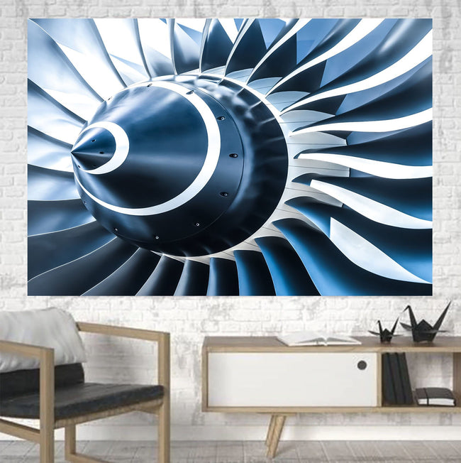 Blue Toned Super Jet Engine Blades Closeup Printed Canvas Posters (1 Piece) Aviation Shop