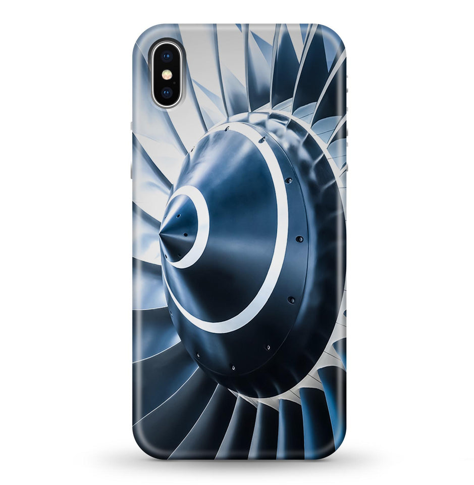 Blue Toned Super Jet Engine Blades Closeup Printed iPhone Cases