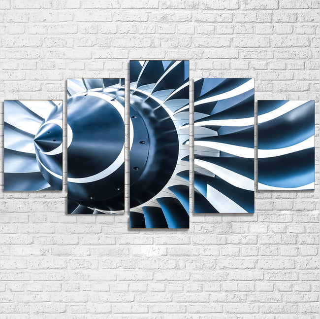 Blue Toned Super Jet Engine Blades Closeup Printed Multiple Canvas Poster Aviation Shop