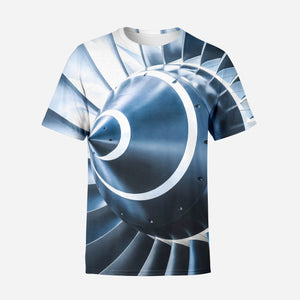 Blue Toned Super Jet Engine Blades Closeup Printed T-Shirts