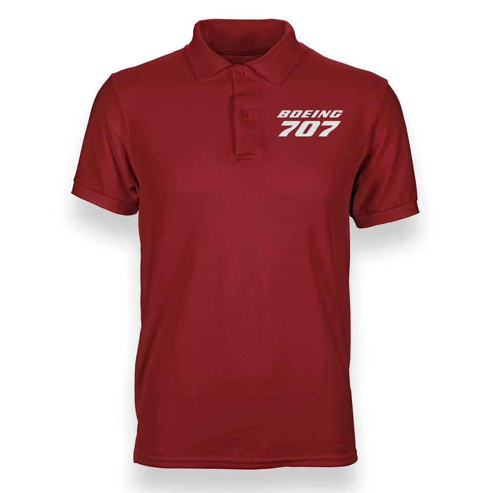 Boeing 707 & Text Designed Polo T-Shirts