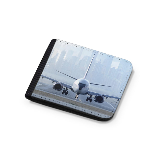 Boeing 737 & City View Behind Designed Wallets