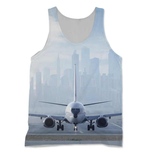 Boeing 737 & City View Behind Designed 3D Tank Tops