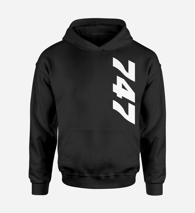 747 Side Text Designed Hoodies