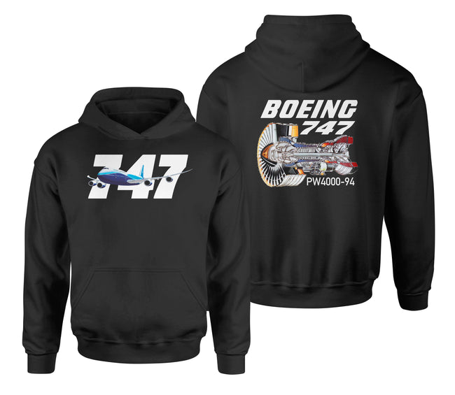 Boeing 747 & PW4000-94 Engine Designed Double Side Hoodies