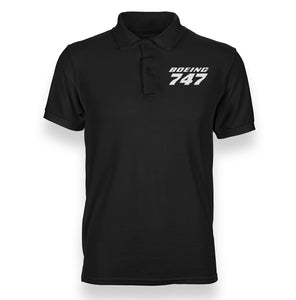 Boeing 747 & Text Designed Polo T-Shirts