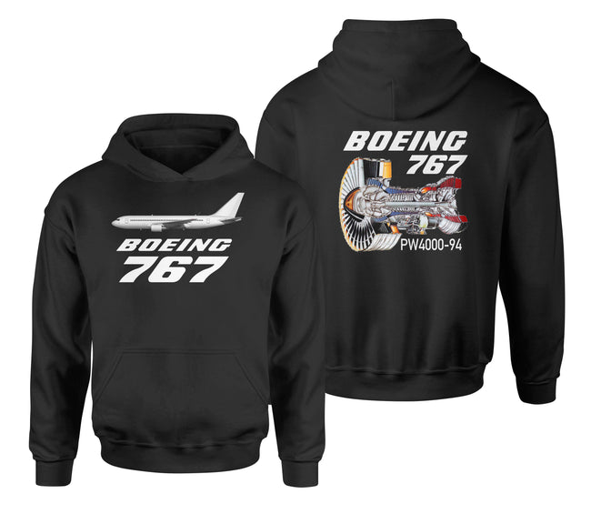 Boeing 767 Engine (PW4000-94) Designed Double Side Hoodies